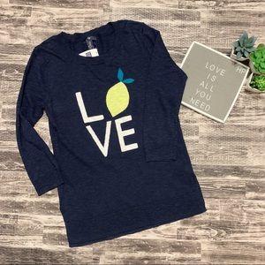 Gap Navy Blue Love Lemon Sweater NEW